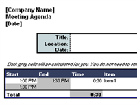 Agendas Office – Template for Agenda for Meeting