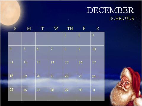 December postcard calendar (4 per page)