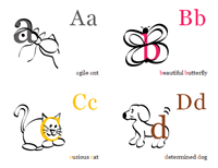 Alphabet flash cards (4 per page)