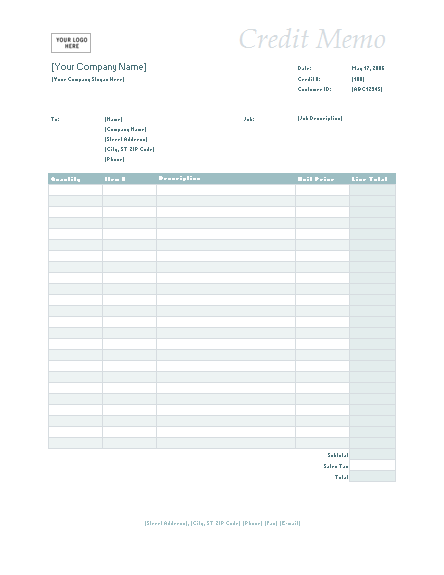 Credit memo (Simple Blue design)