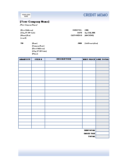 Credit memo (Blue Gradient design)