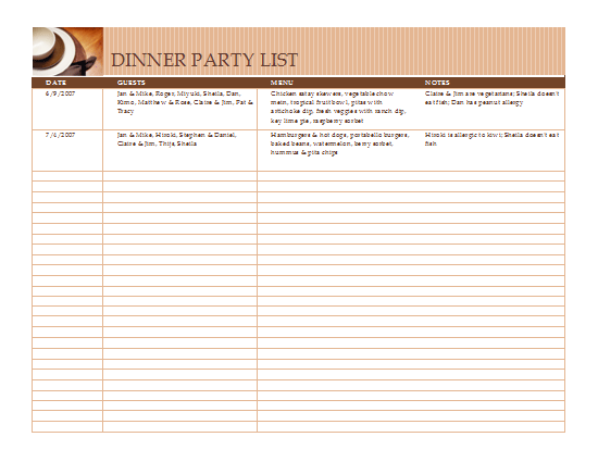 Excel Template Dinner party list with menu Excel