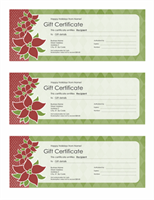 Holiday gift certificate (Poinsettia design, 3 per page)