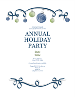 Holiday party invitation with ornaments and blue ribbon (Formal design)