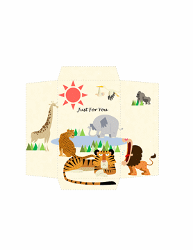 Money envelope (safari animals design)