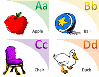 Alphabet and vocabulary flash cards