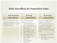 Static text effects for PowerPoint slides