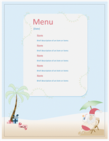 Party menu (Summer Santa design)