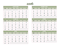 2010-2019 yearly calendar (Mon-Sun)