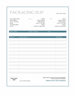 Packaging slip (Blue Border design)
