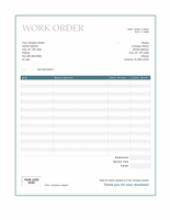 Work order (Blue Border design)