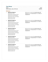 Functional resume reference sheet
