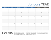 Horizontal calendar (Monday start)