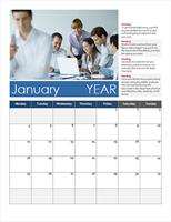 Vertical calendar (Monday start)