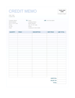 Credit memo (Blue Background design)