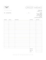 Credit memo (Simple Lines design)