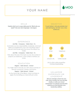 Crisp and clean resume, designed by MOO