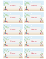 Gift tags or place cards (Summer Santa design)