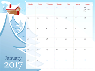 2015 illustrated seasonal calendar (Mon-Sun)