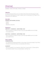 word word online template resume violet - Word Templates Cover Letter
