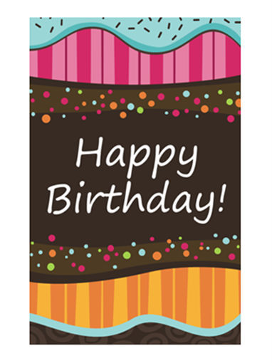 Birthday card - dots and stripes (kids, half-fold)