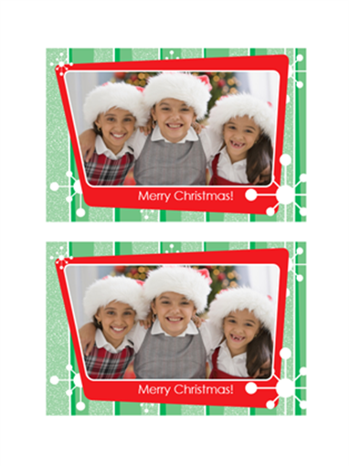 Christmas photo card (green stripes, red photo frame)