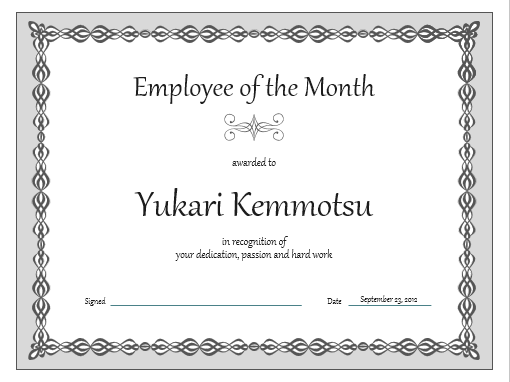 Certificate, Employee of the month (gray chain design)