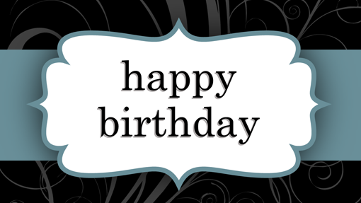Birthday card (Blue Ribbon design, half-fold)
