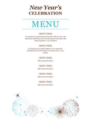 Party menu office templates for Free menu templates for dinner party