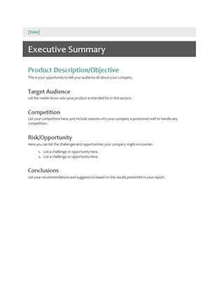 executive summary office templates