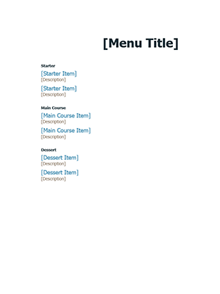 Cafe Menu Template  Cafe Menu Template Word
