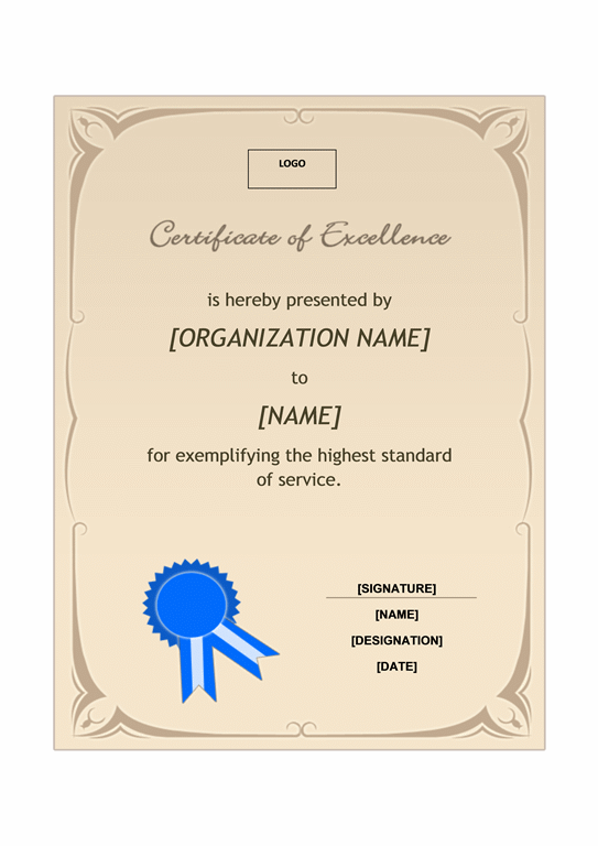 Certificate of excellence (A4 size)