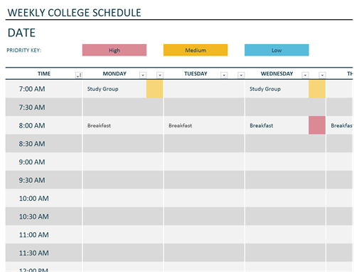 Weekly College Schedule  Daily Schedule Template