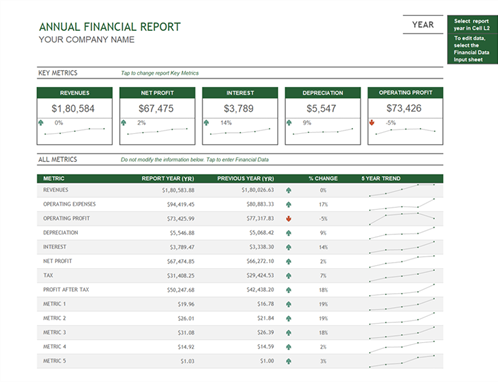 Annual Financial Report  Profit And Loss Projection Template