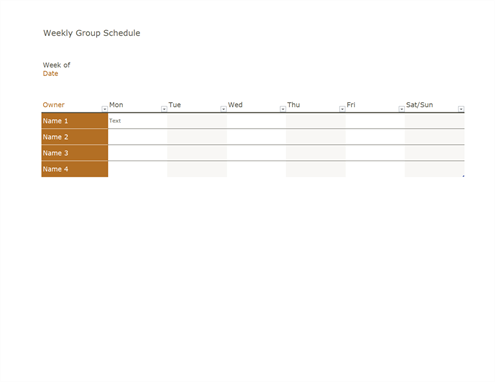Weekly group schedule