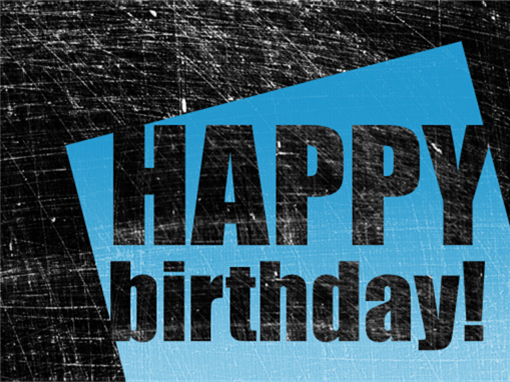 Birthday card, scratched background  (black, blue, half-fold)