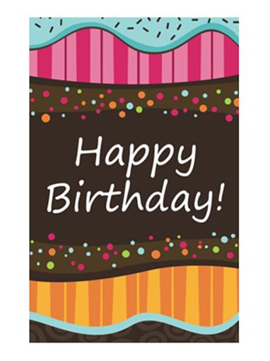 Birthday card - dots and stripes (kids, half-fold)