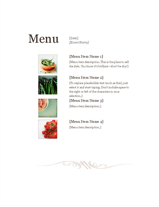 Restaurant Menu  A La Carte Menu Template