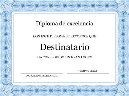 Diploma de excelencia (borde azul oficial)