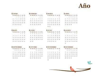 Calendario anual de 2018 (de lunes a domingo)