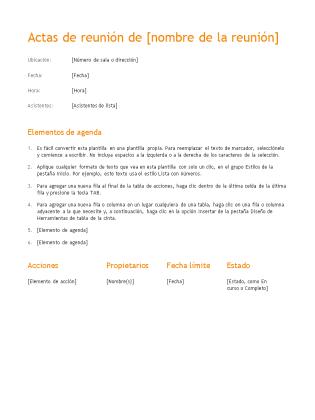 Actas de reunión (diseño Naranja)