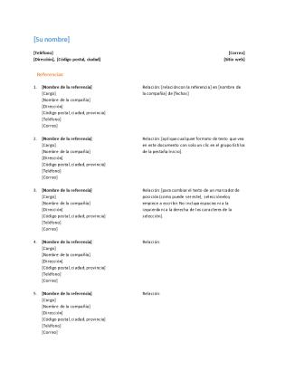 Lista de referencias para currículo (diseño funcional)