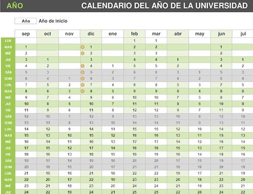 Calendario del curso universitario