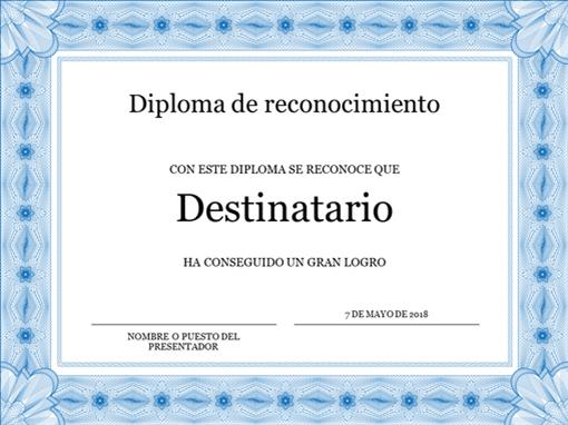 Diploma de reconocimiento (azul)
