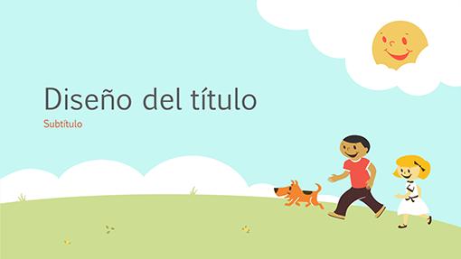 Presentación para el ámbito educativo de niños jugando (ilustración de dibujos animados, pantalla panorámica)