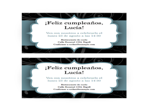 Invitaciones a fiesta (diseño con cinta azul, 2 por página)