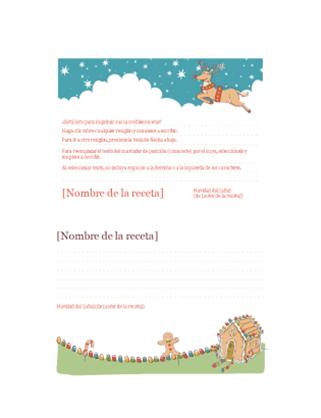 Tarjetas de receta navideña