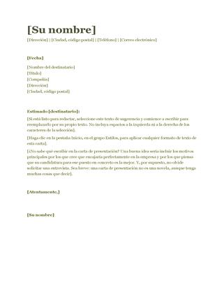Carta de presentación para CV (verde)