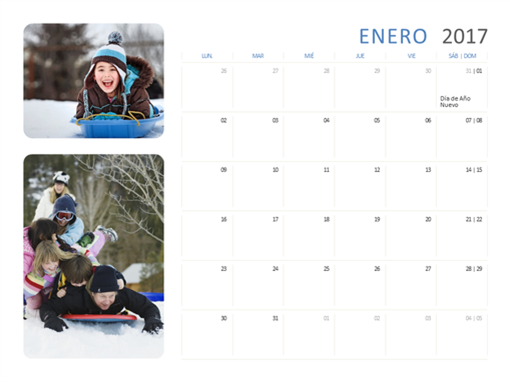 Calendario fotográfico de 2017 (de lunes a sábado y domingo)