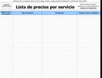 Lista de precios por servicio